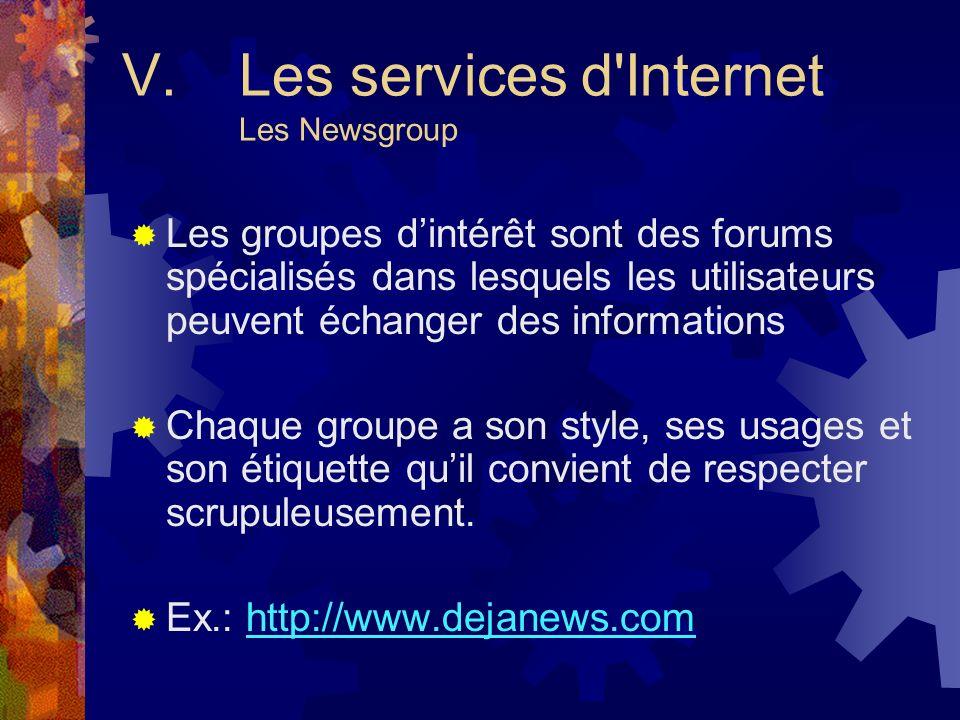 V. Les services d Internet Les Newsgroup