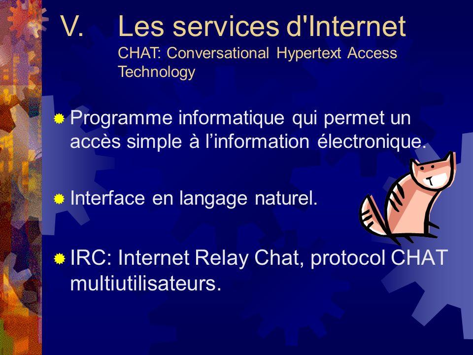 V. Les services d Internet CHAT: Conversational Hypertext Access Technology