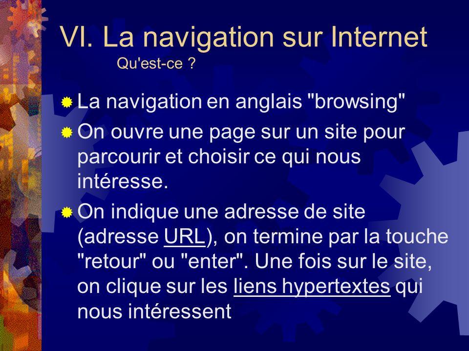 VI. La navigation sur Internet Qu est-ce
