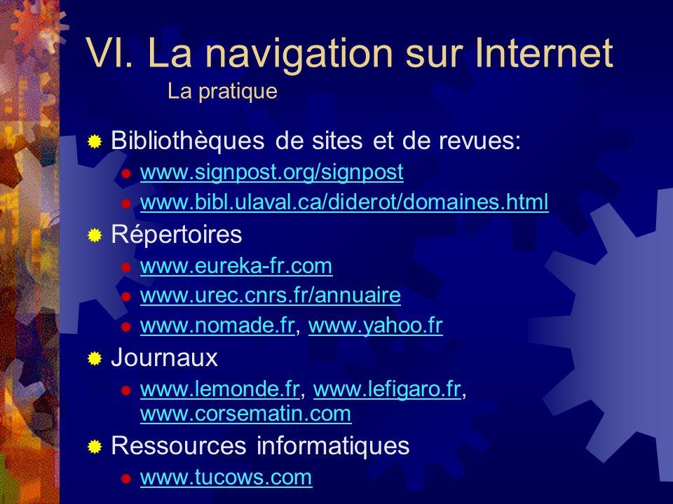 VI. La navigation sur Internet La pratique