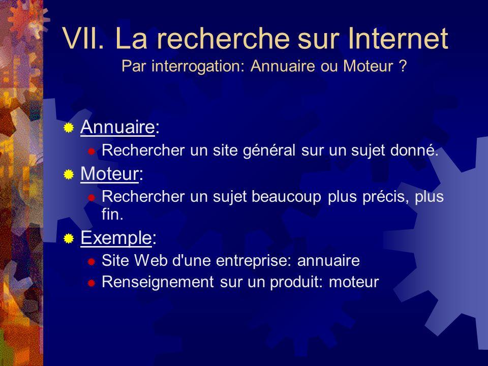 VII. La recherche sur Internet Par interrogation: Annuaire ou Moteur