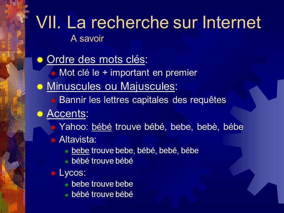 VII. La recherche sur Internet A savoir
