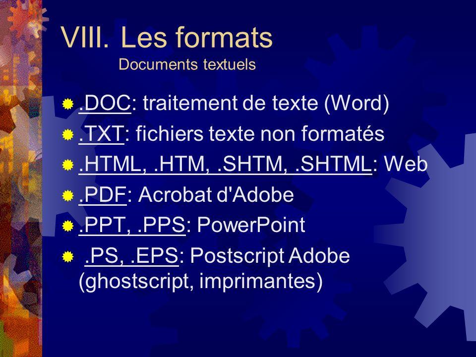 VIII. Les formats Documents textuels