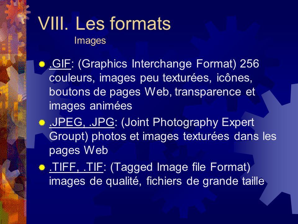 VIII. Les formats Images