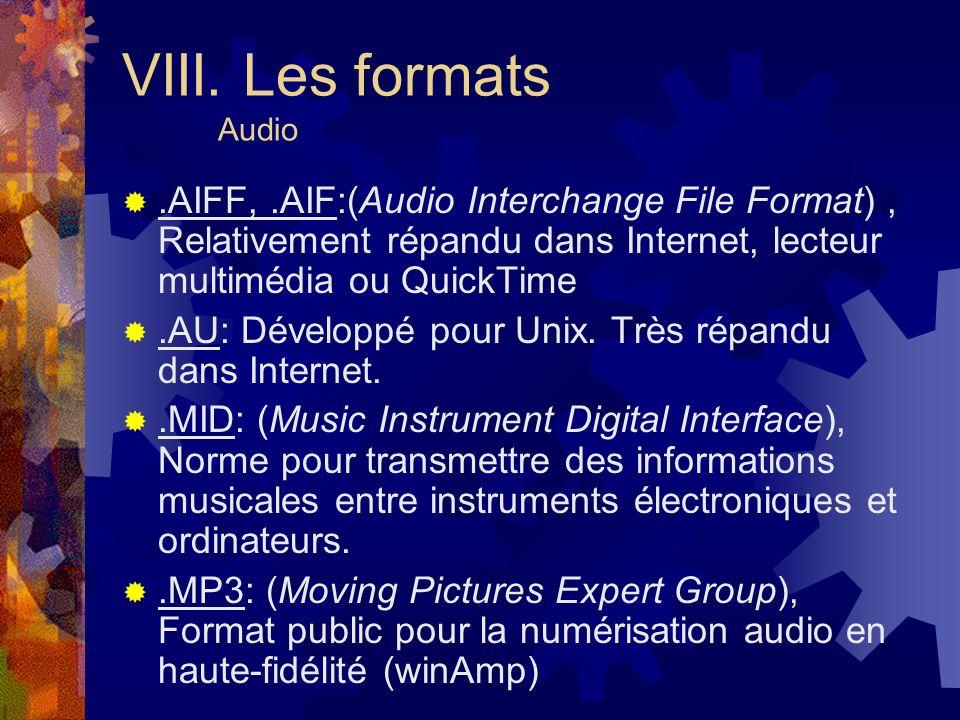 VIII. Les formats Audio .AIFF, .AIF:(Audio Interchange File Format) , Relativement répandu dans Internet, lecteur multimédia ou QuickTime.