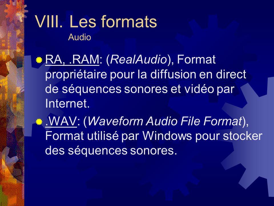 VIII. Les formats Audio RA, .RAM: (RealAudio), Format propriétaire pour la diffusion en direct de séquences sonores et vidéo par Internet.