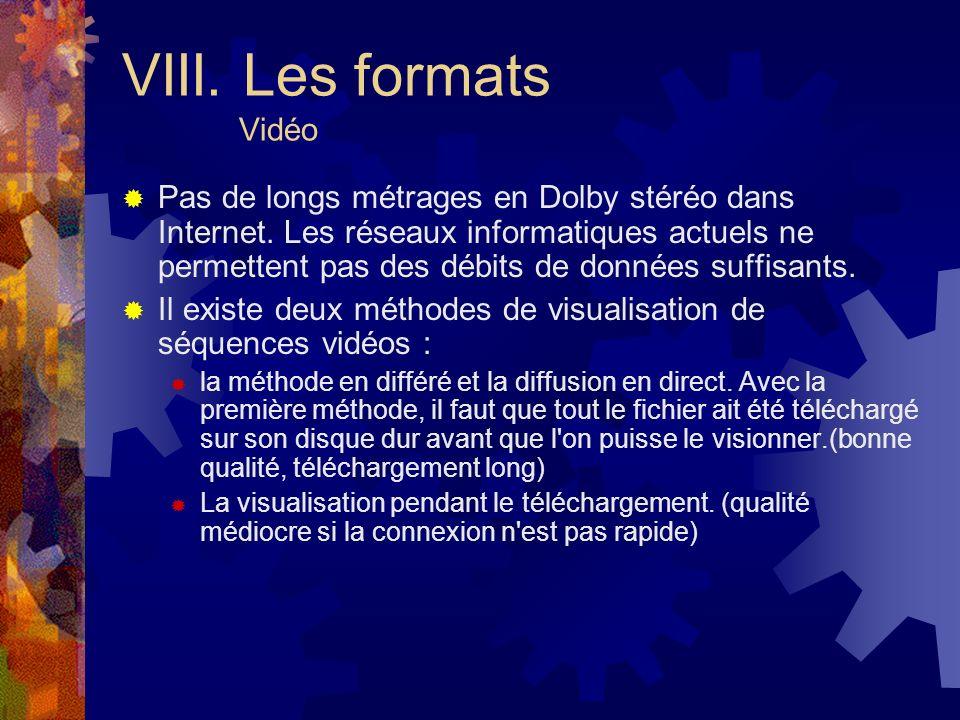 VIII. Les formats Vidéo