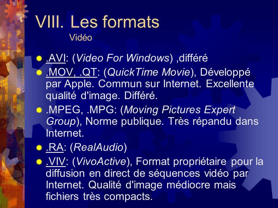VIII. Les formats Vidéo .AVI: (Video For Windows) ,différé