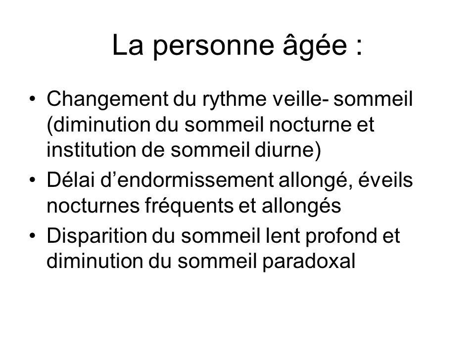 La personne âgée : Changement du rythme veille- sommeil (diminution du sommeil nocturne et institution de sommeil diurne)