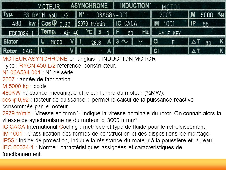 MOTEUR ASYNCHRONE en anglais : INDUCTION MOTOR