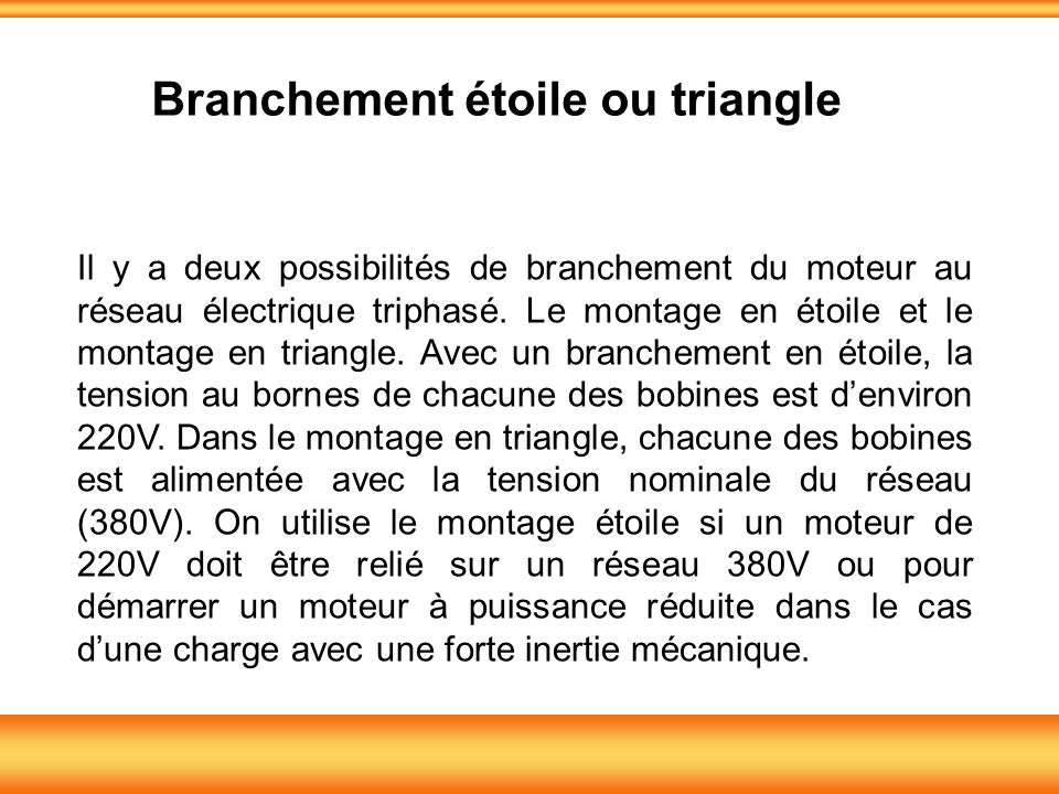 Branchement étoile ou triangle