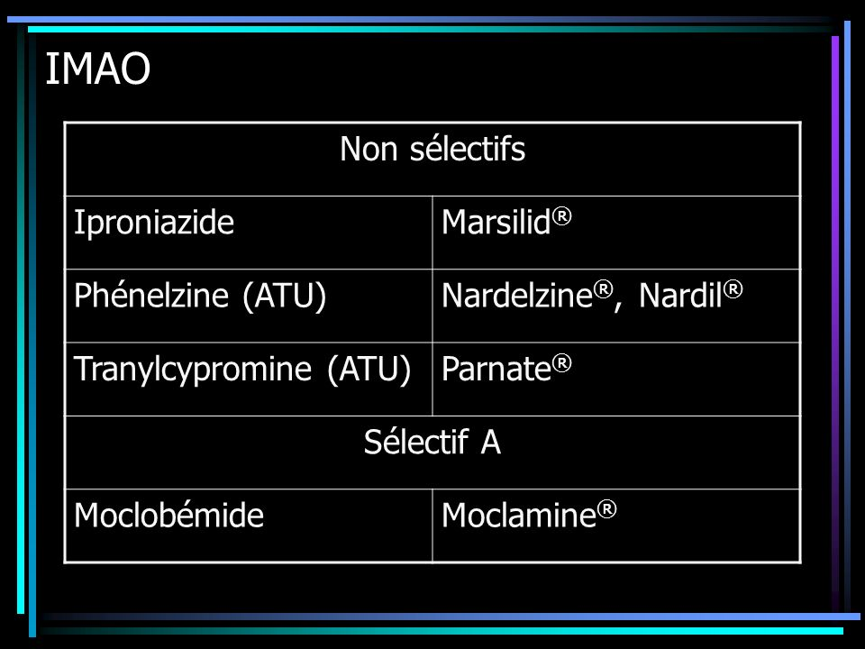 IMAO Non sélectifs Iproniazide Marsilid® Phénelzine (ATU)