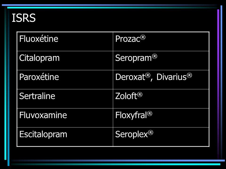 ISRS Fluoxétine Prozac® Citalopram Seropram® Paroxétine