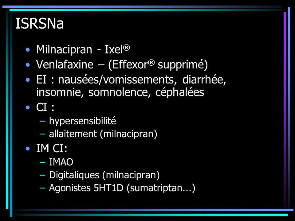 ISRSNa Milnacipran - Ixel® Venlafaxine – (Effexor® supprimé)