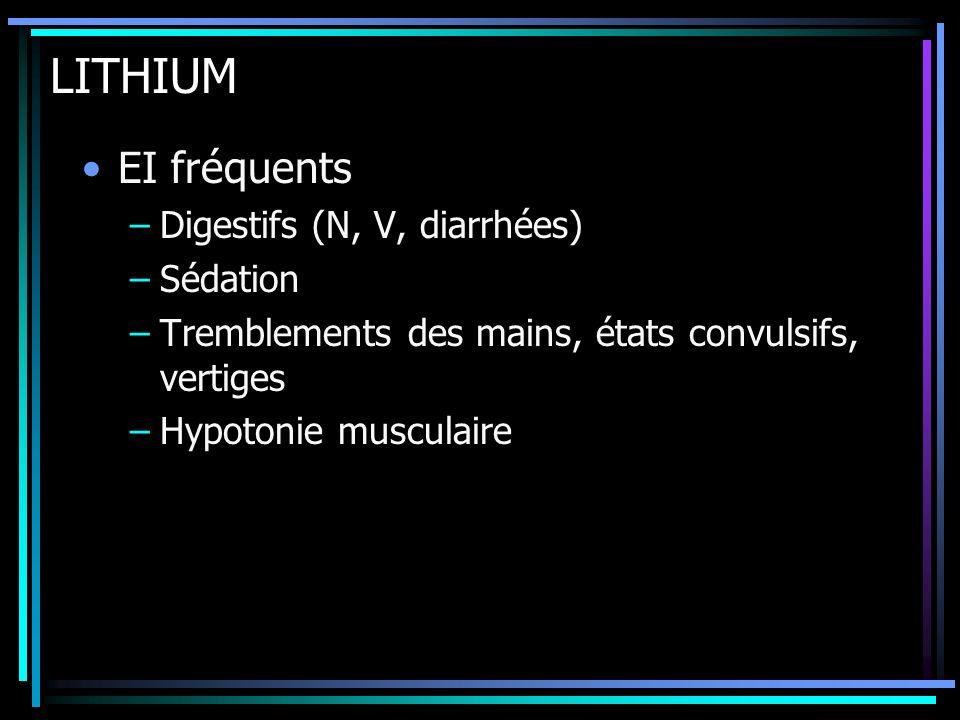 LITHIUM EI fréquents Digestifs (N, V, diarrhées) Sédation