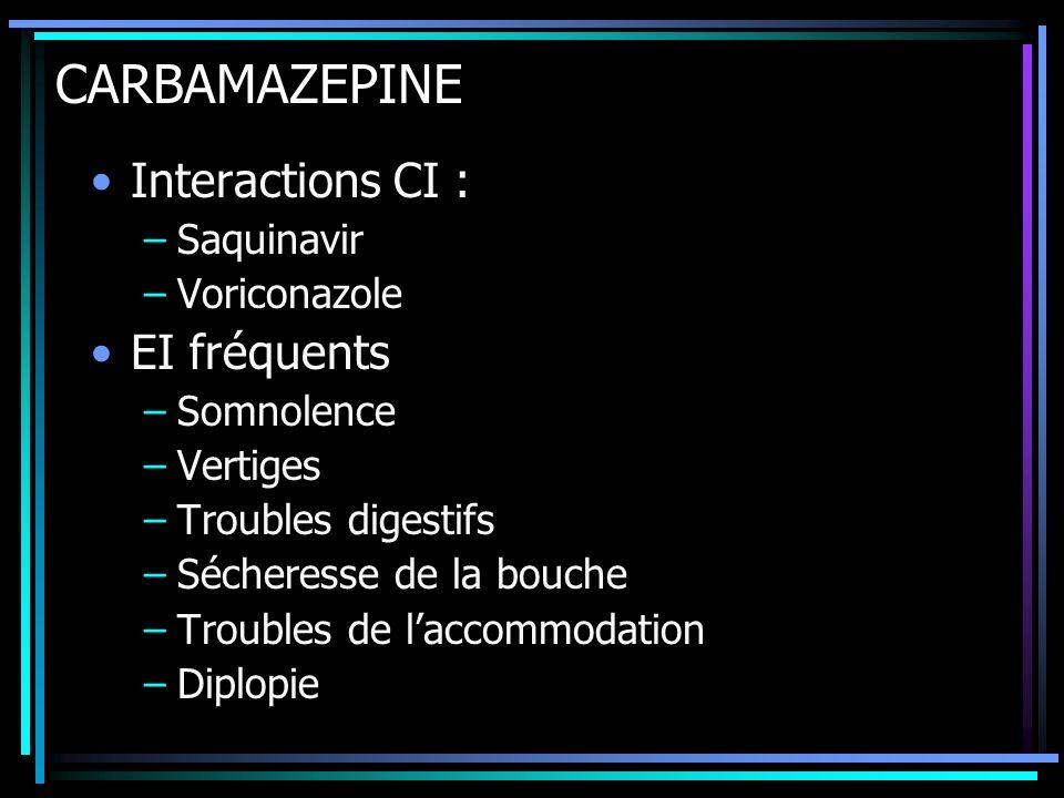 CARBAMAZEPINE Interactions CI : EI fréquents Saquinavir Voriconazole
