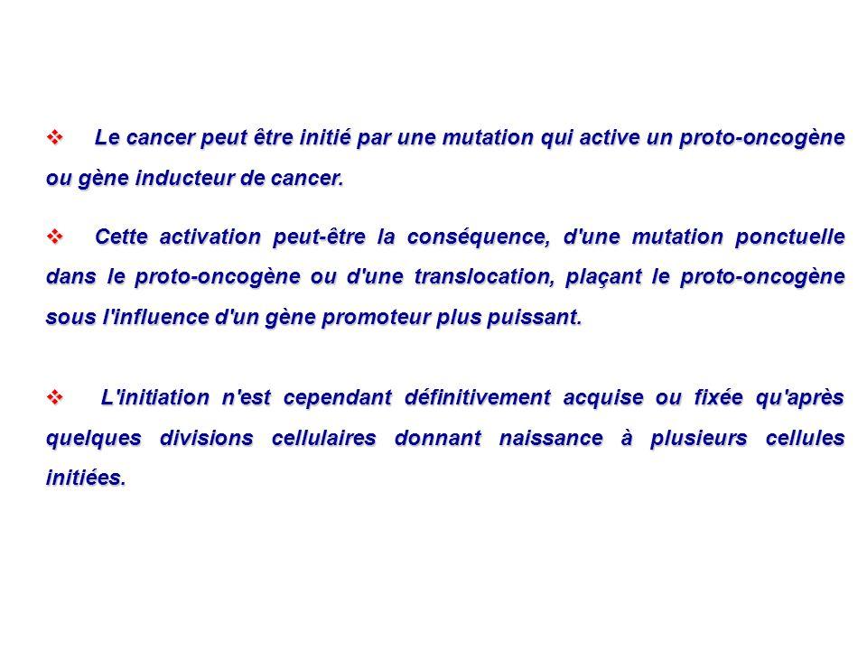 Le cancer peut être initié par une mutation qui active un proto-oncogène ou gène inducteur de cancer.