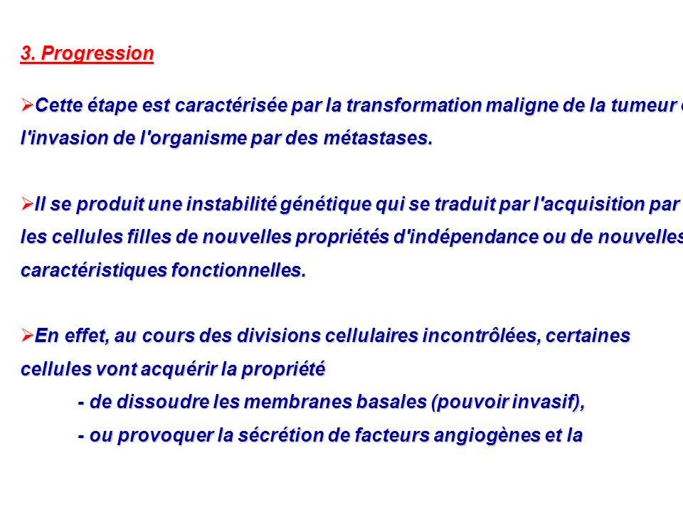 3. Progression Cette étape est caractérisée par la transformation maligne de la tumeur et l invasion de l organisme par des métastases.