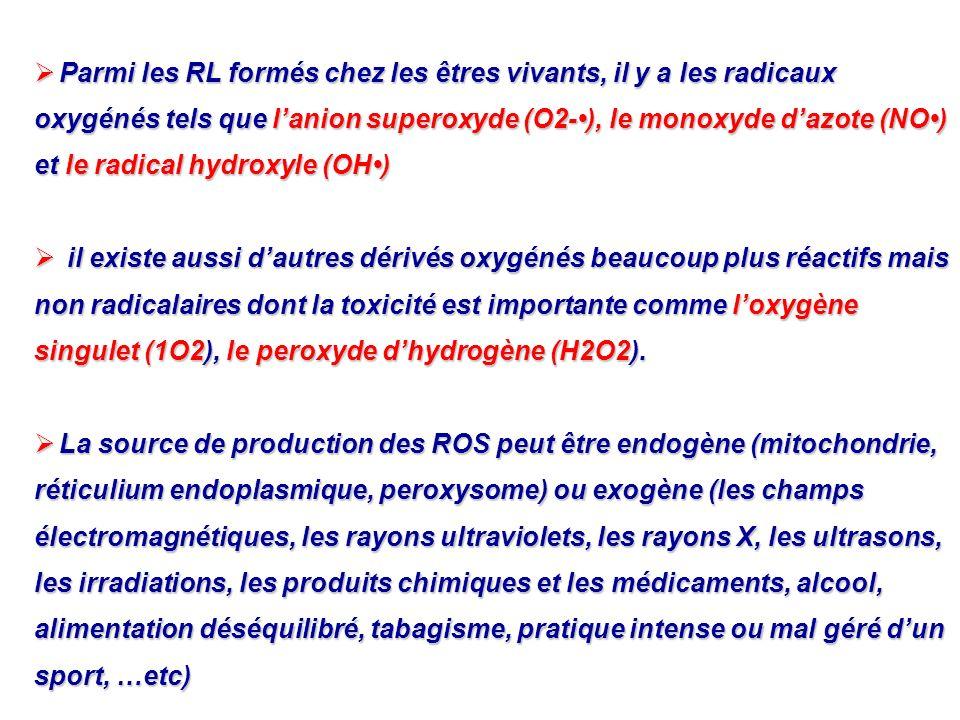 Parmi les RL formés chez les êtres vivants, il y a les radicaux oxygénés tels que l'anion superoxyde (O2-•), le monoxyde d'azote (NO•) et le radical hydroxyle (OH•)