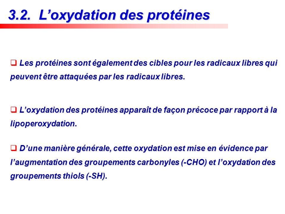 3.2. L'oxydation des protéines
