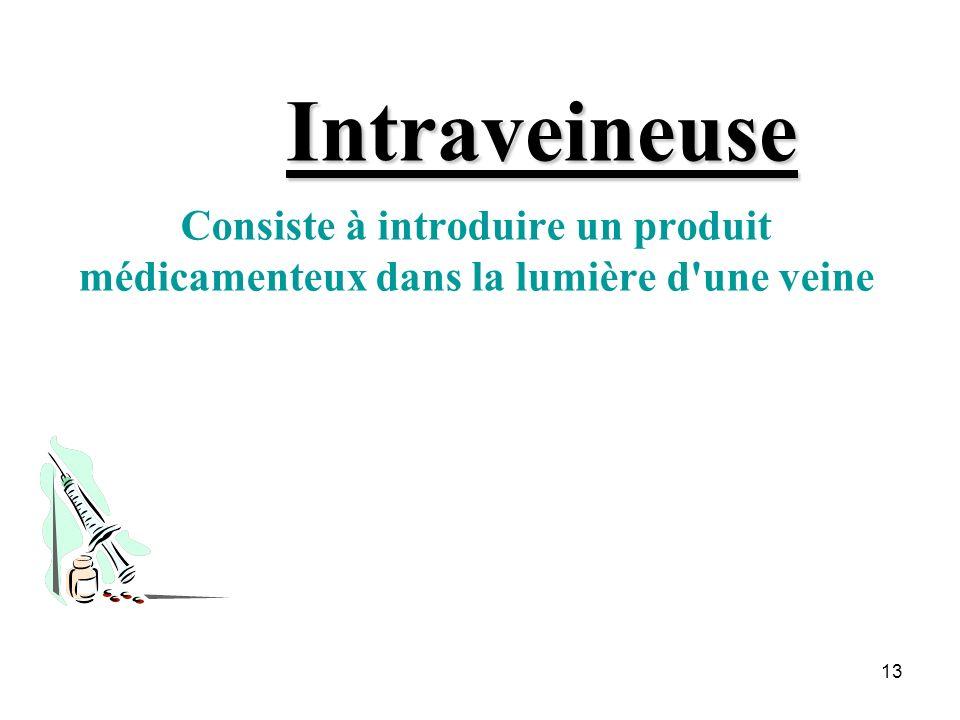Intraveineuse Consiste à introduire un produit médicamenteux dans la lumière d une veine