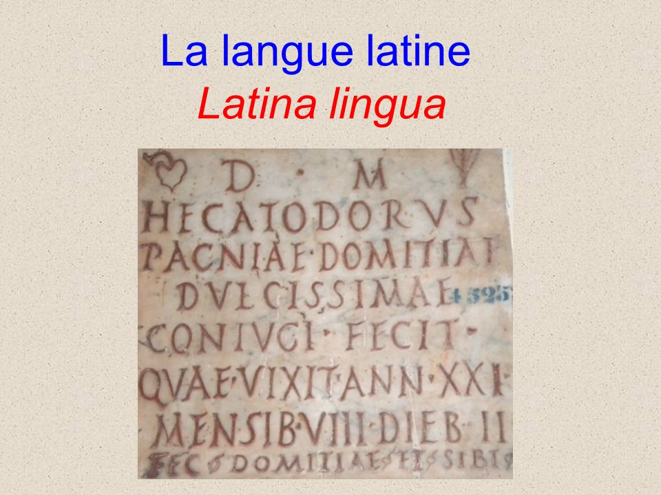 La langue latine Latina lingua