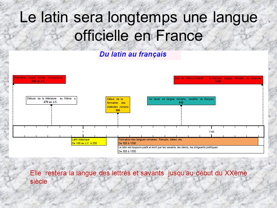 Le latin sera longtemps une langue officielle en France