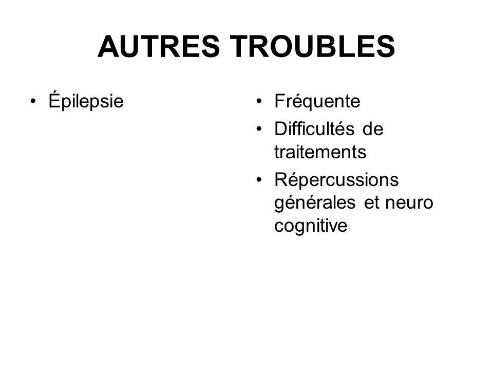AUTRES TROUBLES Épilepsie Fréquente Difficultés de traitements