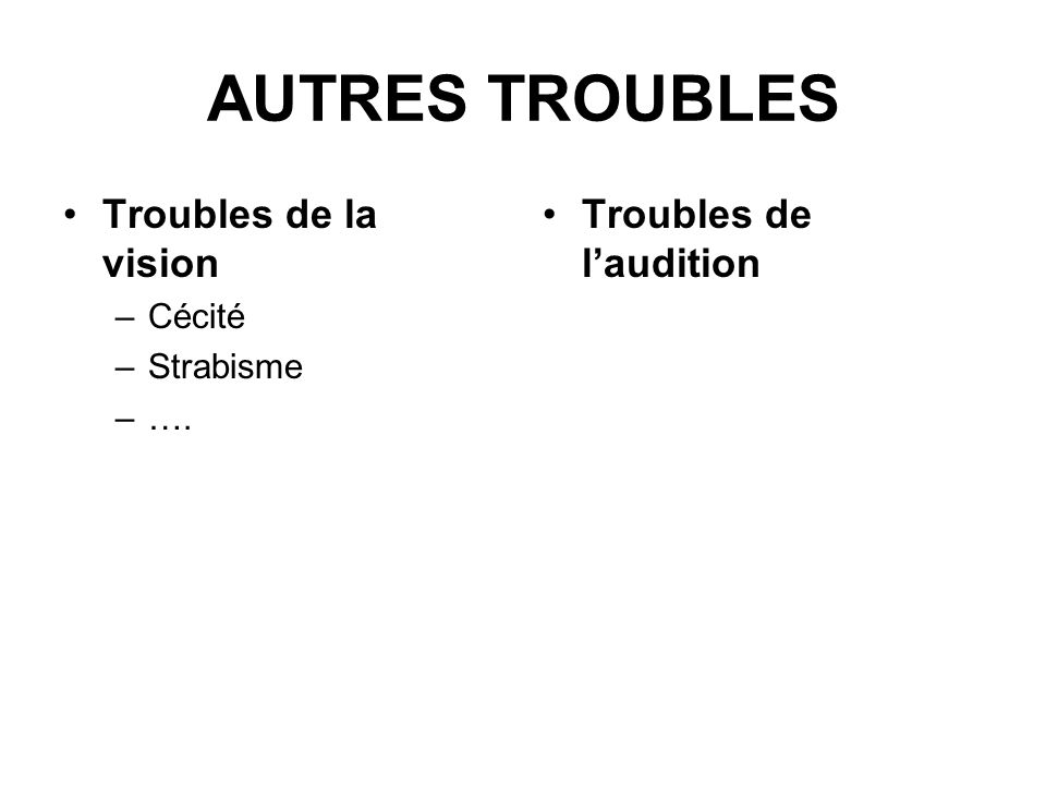 AUTRES TROUBLES Troubles de la vision Troubles de l'audition Cécité