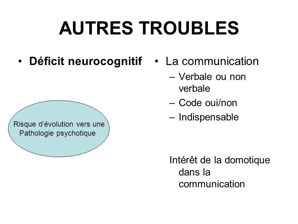 AUTRES TROUBLES Déficit neurocognitif La communication