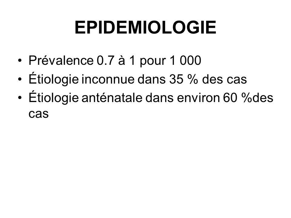 EPIDEMIOLOGIE Prévalence 0.7 à 1 pour 1 000