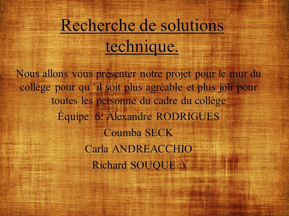 Recherche de solutions technique.
