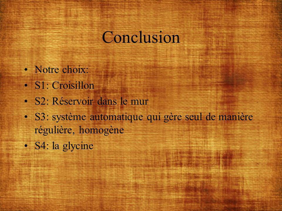 Conclusion Notre choix: S1: Croisillon S2: Réservoir dans le mur