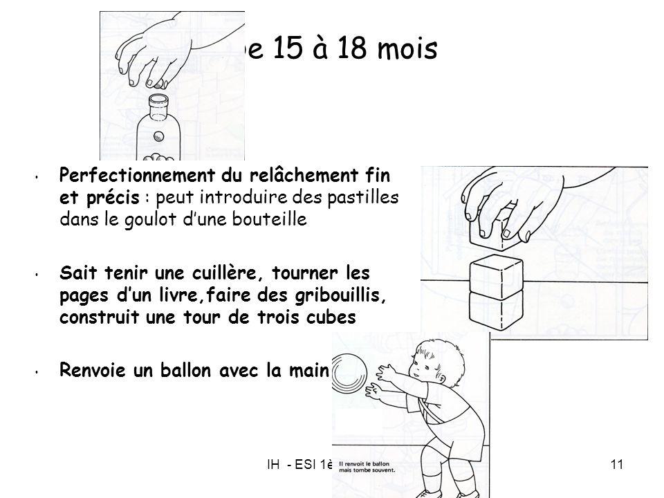 De 15 à 18 mois Perfectionnement du relâchement fin et précis : peut introduire des pastilles dans le goulot d'une bouteille.