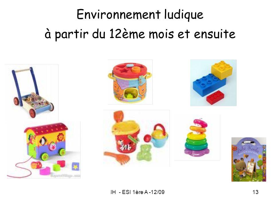 Environnement ludique à partir du 12ème mois et ensuite