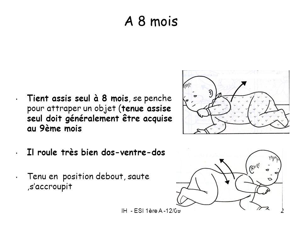 A 8 mois Tient assis seul à 8 mois, se penche pour attraper un objet (tenue assise seul doit généralement être acquise au 9ème mois.