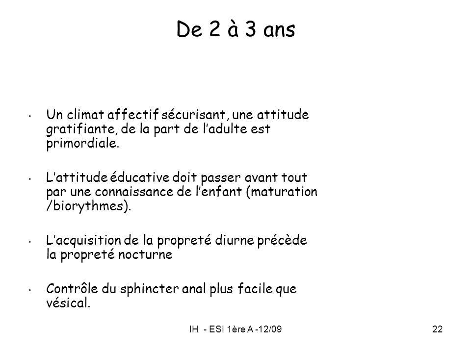 De 2 à 3 ans Un climat affectif sécurisant, une attitude gratifiante, de la part de l'adulte est primordiale.