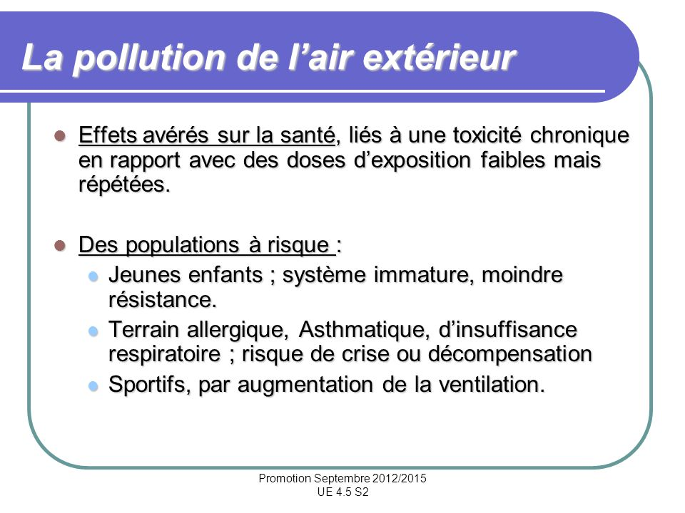 La pollution de l'air extérieur