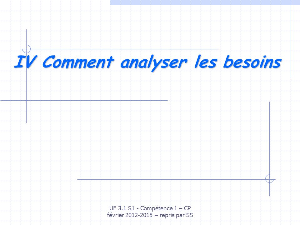IV Comment analyser les besoins