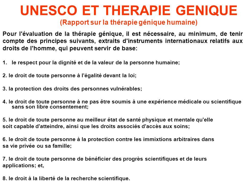UNESCO ET THERAPIE GENIQUE (Rapport sur la thérapie génique humaine)