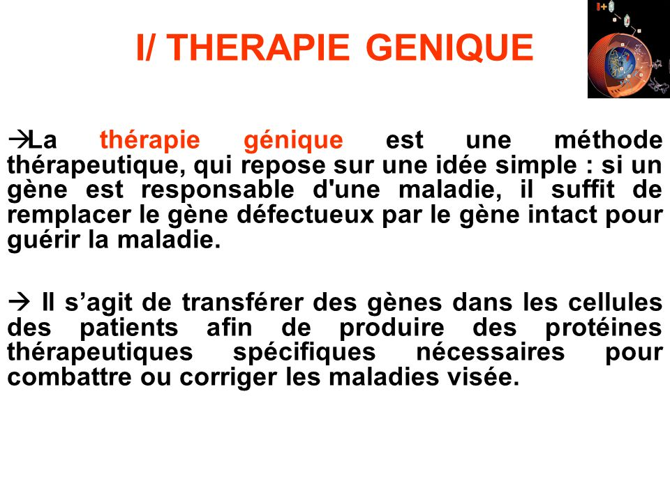 I/ THERAPIE GENIQUE