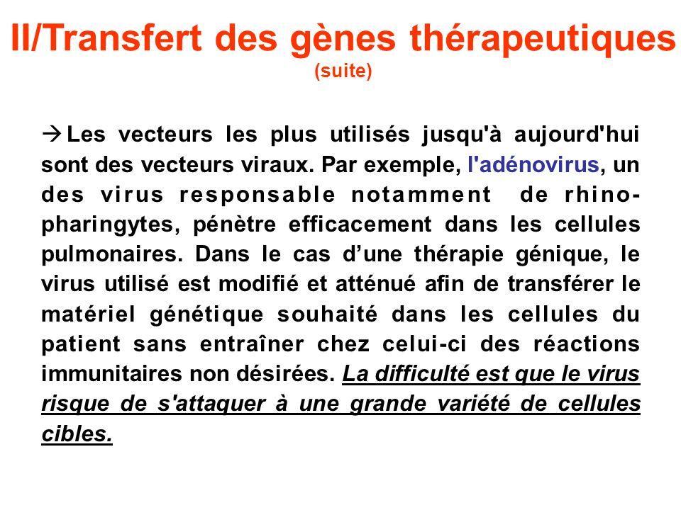 II/Transfert des gènes thérapeutiques