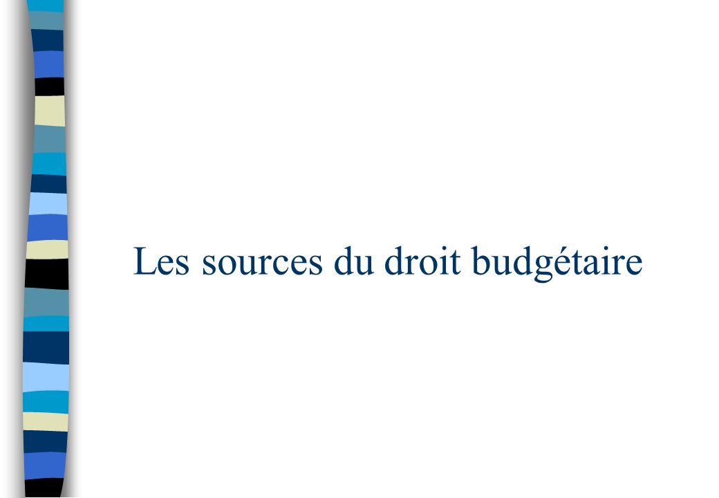 Les sources du droit budgétaire