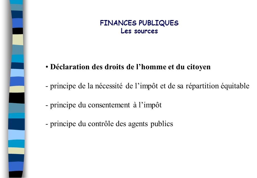 FINANCES PUBLIQUES Les sources. Déclaration des droits de l'homme et du citoyen. principe de la nécessité de l'impôt et de sa répartition équitable.