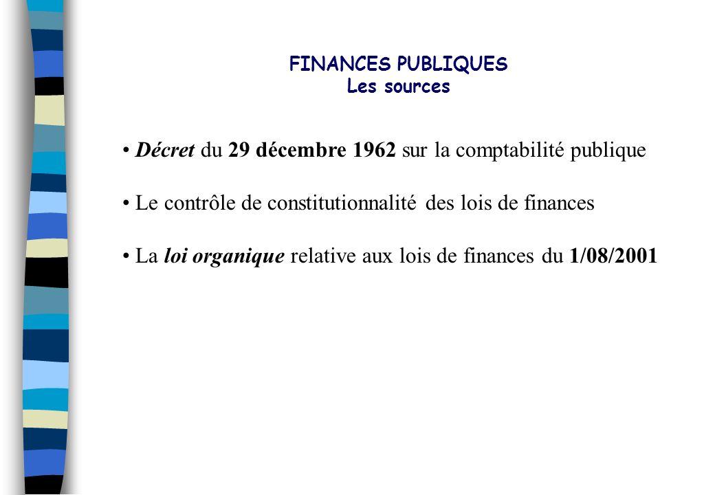 FINANCES PUBLIQUES Les sources. Décret du 29 décembre 1962 sur la comptabilité publique. Le contrôle de constitutionnalité des lois de finances.