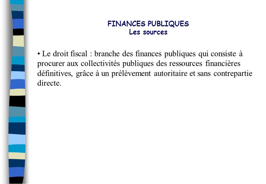 FINANCES PUBLIQUES Les sources. Le droit fiscal : branche des finances publiques qui consiste à.
