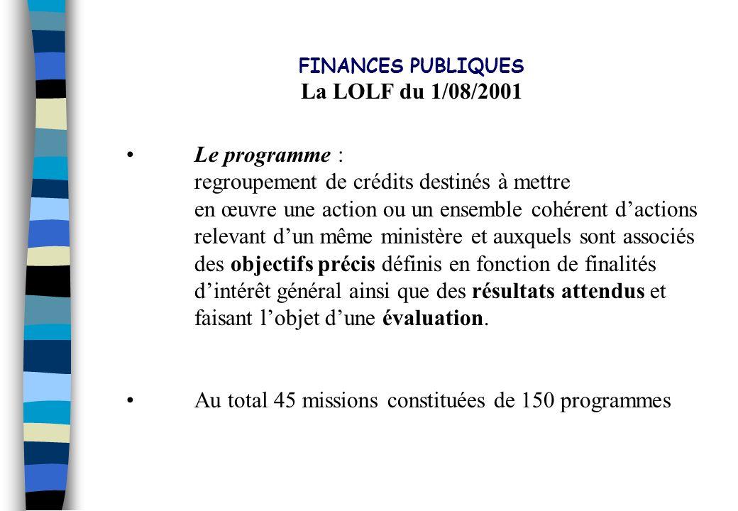 PLAN DIRECTEUR 2002 - 2006 La LOLF du 1/08/2001 Le programme :