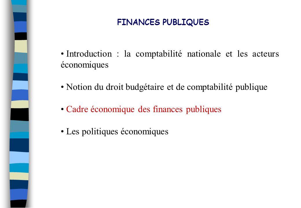 FINANCES PUBLIQUES Introduction : la comptabilité nationale et les acteurs économiques. Notion du droit budgétaire et de comptabilité publique.