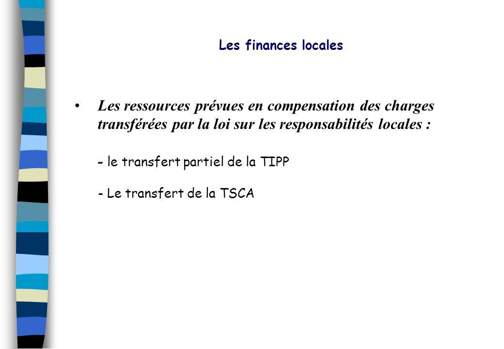 Les finances locales Les ressources prévues en compensation des charges transférées par la loi sur les responsabilités locales :