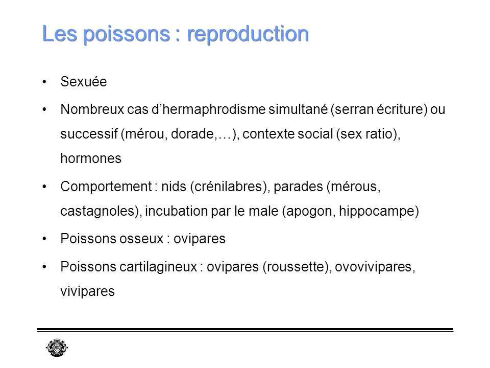 Les poissons : reproduction